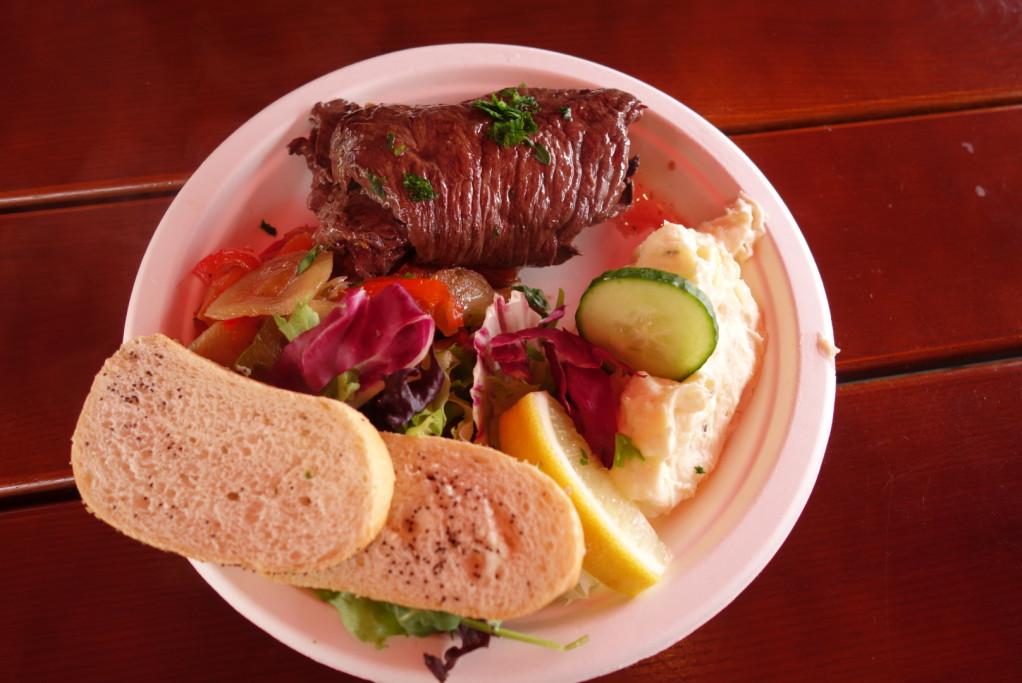 Hančin steak z velryby (byl bez palmového oleje, tak doufáme v pokračující přátelství našich ekopřatel)